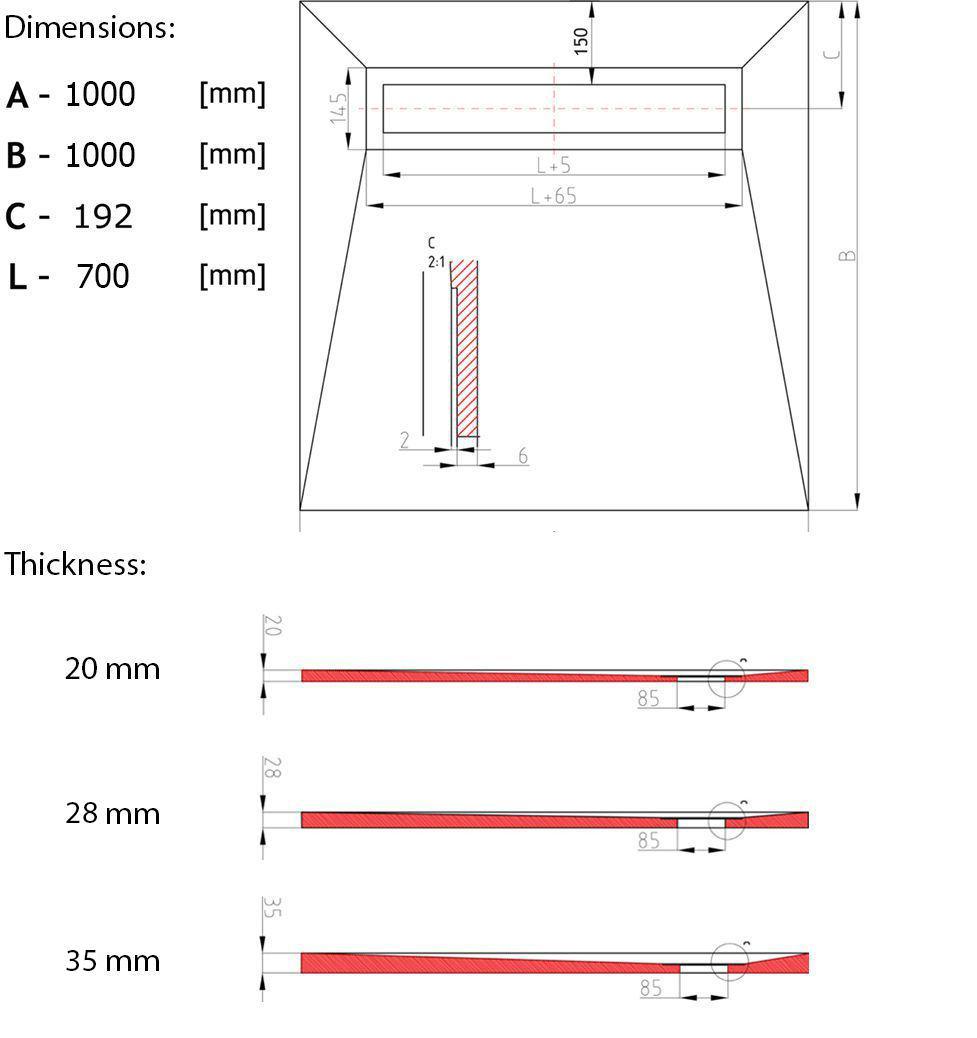 duschelement showerlay 1000 x 1000 mm mit verfliesbarer duschrinne. Black Bedroom Furniture Sets. Home Design Ideas